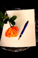 Pen Paper and Rose