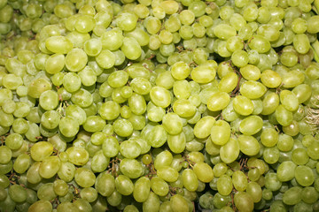 Green Grape Background. Freshly picked grapes pn farmers market