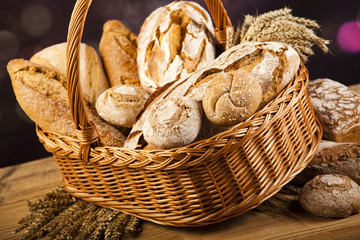 Traditional bread in wicker bucket