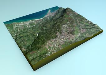 Vista aerea di Vibo Valentia e zone limitrofe mappa in 3d
