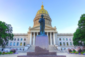 The Lincoln Statue in front of West Virginia Capitol