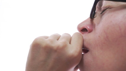 Woman Coughing Closeup