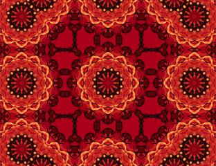 Red mandala and pattern