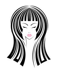 Long hair style icon, logo girl's face