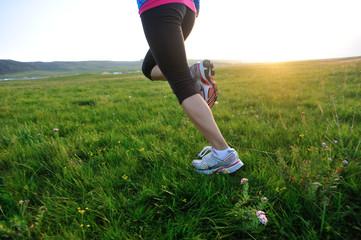 Runner athlete legs running on sunset grass seaside