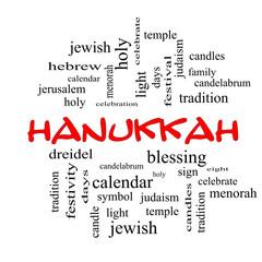 Hanukkah Word Cloud Concept in red caps