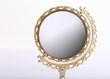 Leinwanddruck Bild - golden makeup mirror isolated