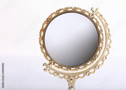 golden makeup mirror isolated - 69650182