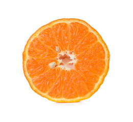 Orange fruit slice isolated on white