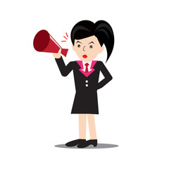business women announcing