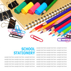 School and office stationery isolated on white