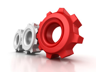 Three cogwheel gears with red leader on white background