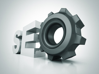 SEO text letters with cogwheel gear