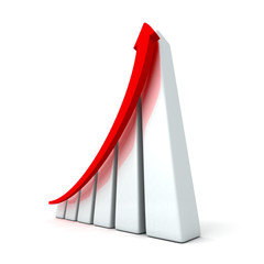 success business graph with rising up arrow
