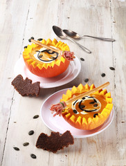Pumpkin Soup with Bat Shaped Crouton Toasts