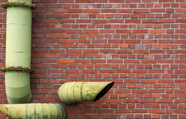 brick wall with pipes background