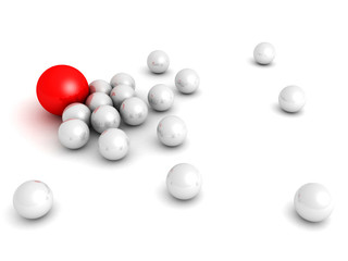 Leadership concept with red sphere and many white ones