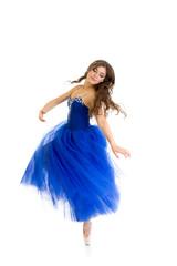 spinning dancer girl isolated on white