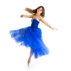 dancer girl in motion isolated on white