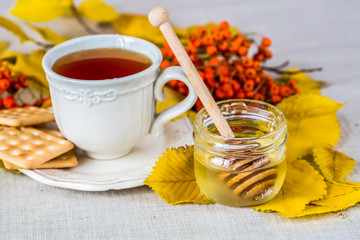Tea with honey and autumn leafs