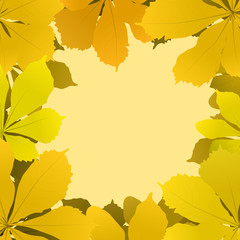 autumn background with chestnut leaves