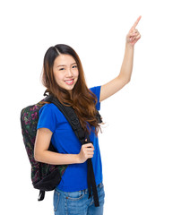 Student with backpack and finger up