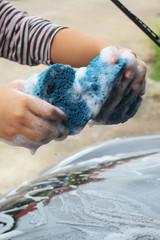 blue sponge  the car for washing