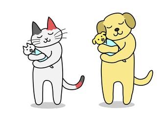 赤ちゃんを抱く犬と猫