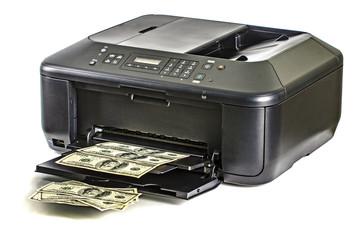 Printer printing fake dollar bills
