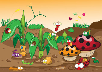 Insects family on the ground and tree. Insects cartoon and vecto