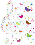 vector vintage music notes and birds