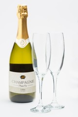 Bottle of champagne with two flutes