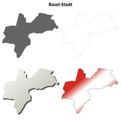 Basel-Stadt blank detailed outline map set