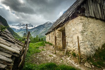 Old, abandoned  houses in mountains.Slovenia.