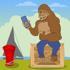 gorilla with cellphone