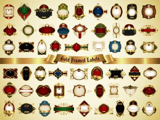 Set of gold framed labels - vintage style