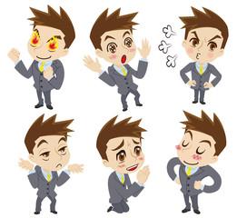 ポジティブな感情の二頭身ビジネスマン