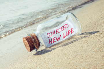 Bottle with a message. Stress and vacation concept.