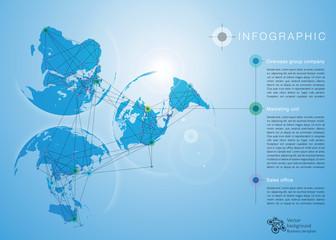 Infographics Vector Background Global Network