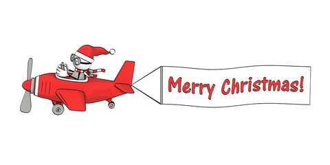 little sketchy man with santa hat  in a red  plane with banner