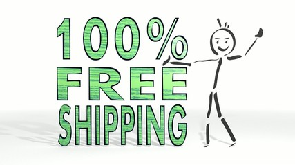 stick man presents a free shipping symbol