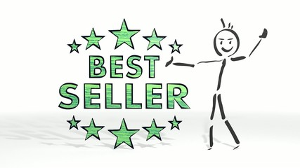 stick man presents a best seller symbol