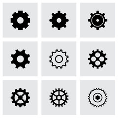 Vector black gear icons set