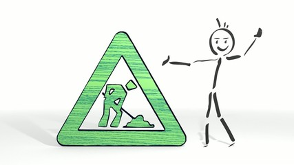 stick man presents a building site symbol