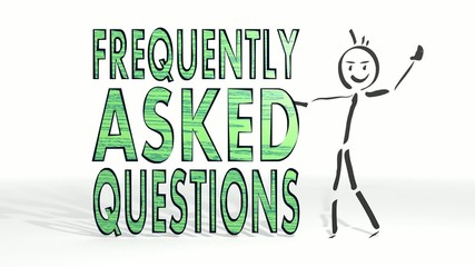 stick man presents a faq symbol