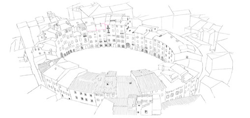 Oval City Square in Lucca, Italy - urban sketch