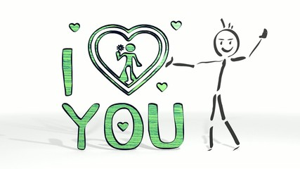 stick man presents a love you symbol