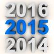 Leinwandbild Motiv Render of the new year 2015 in blue