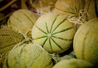 Melons on a market stall