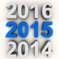 Render of the new year 2015 in blue